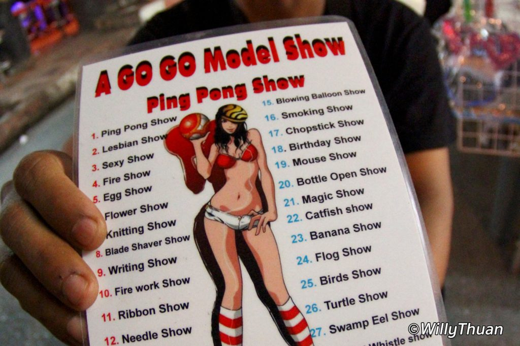 Ping Pong Show menu on Bangla Road in Patong
