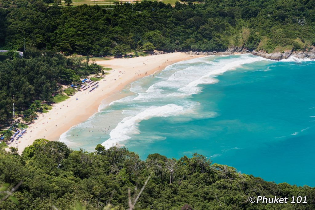 Nai Harn Beach seen from Black Rock Viewpoint