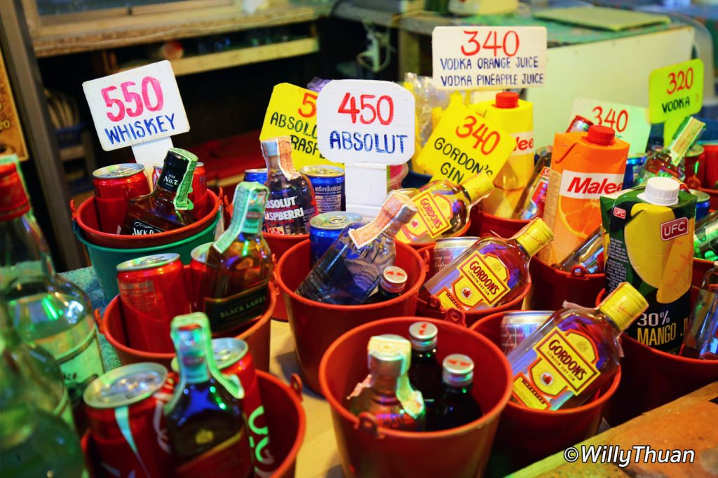 Buckets of alcohol in Phi Phi island