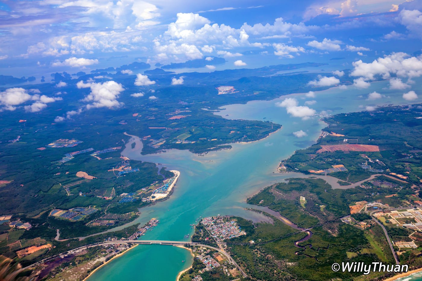 the sarasin bridge seen from the sky