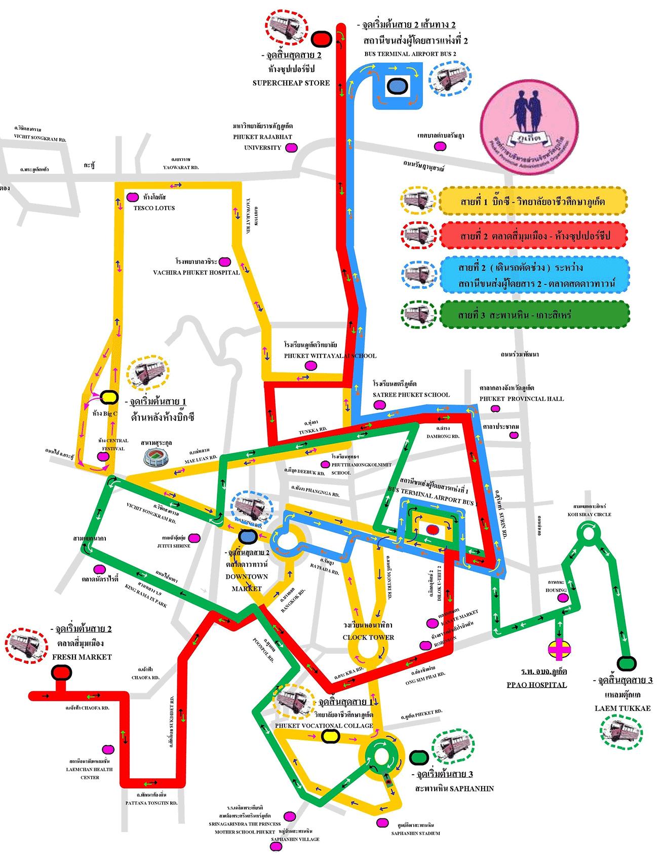 Phuket Pink Bus Map