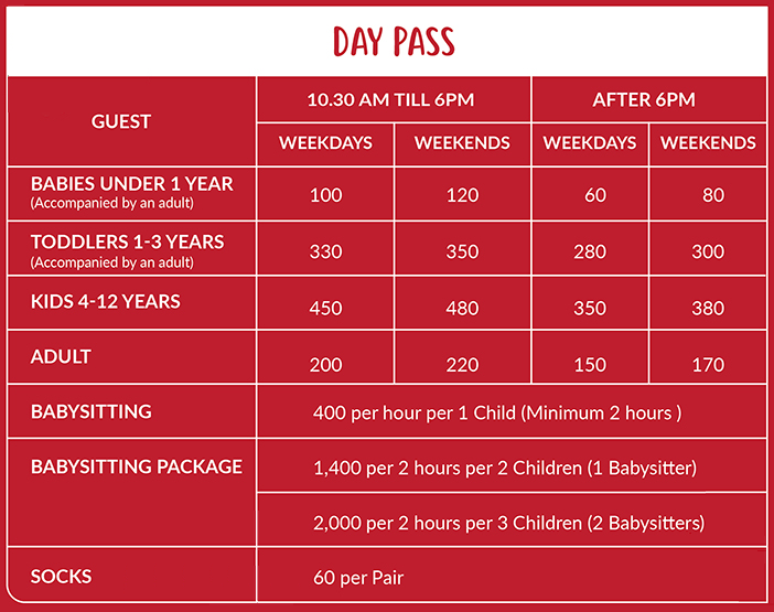 Happy Kids Club Phuket Price List