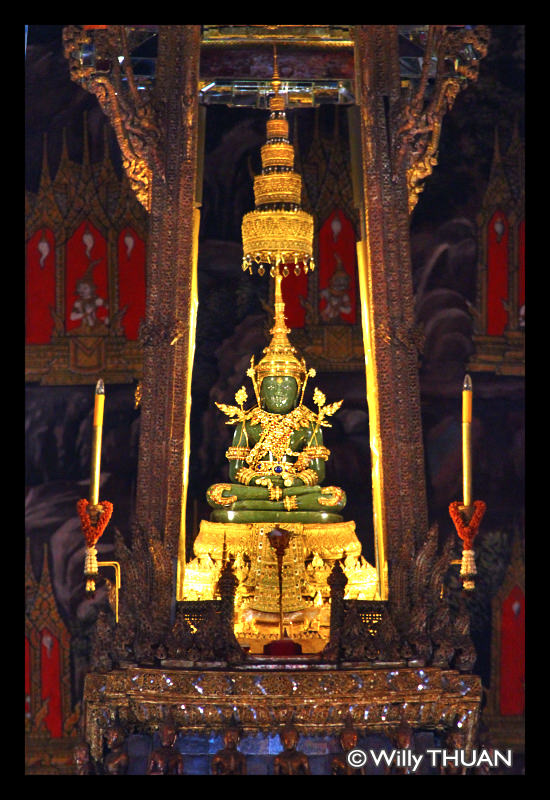 The Emerald Buddha inside The Grand Palace in Bangkok, Thailand