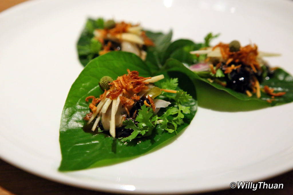 Miang betel leaves of creamy Irish oysters with ginger, roasted coconut and galangal jam