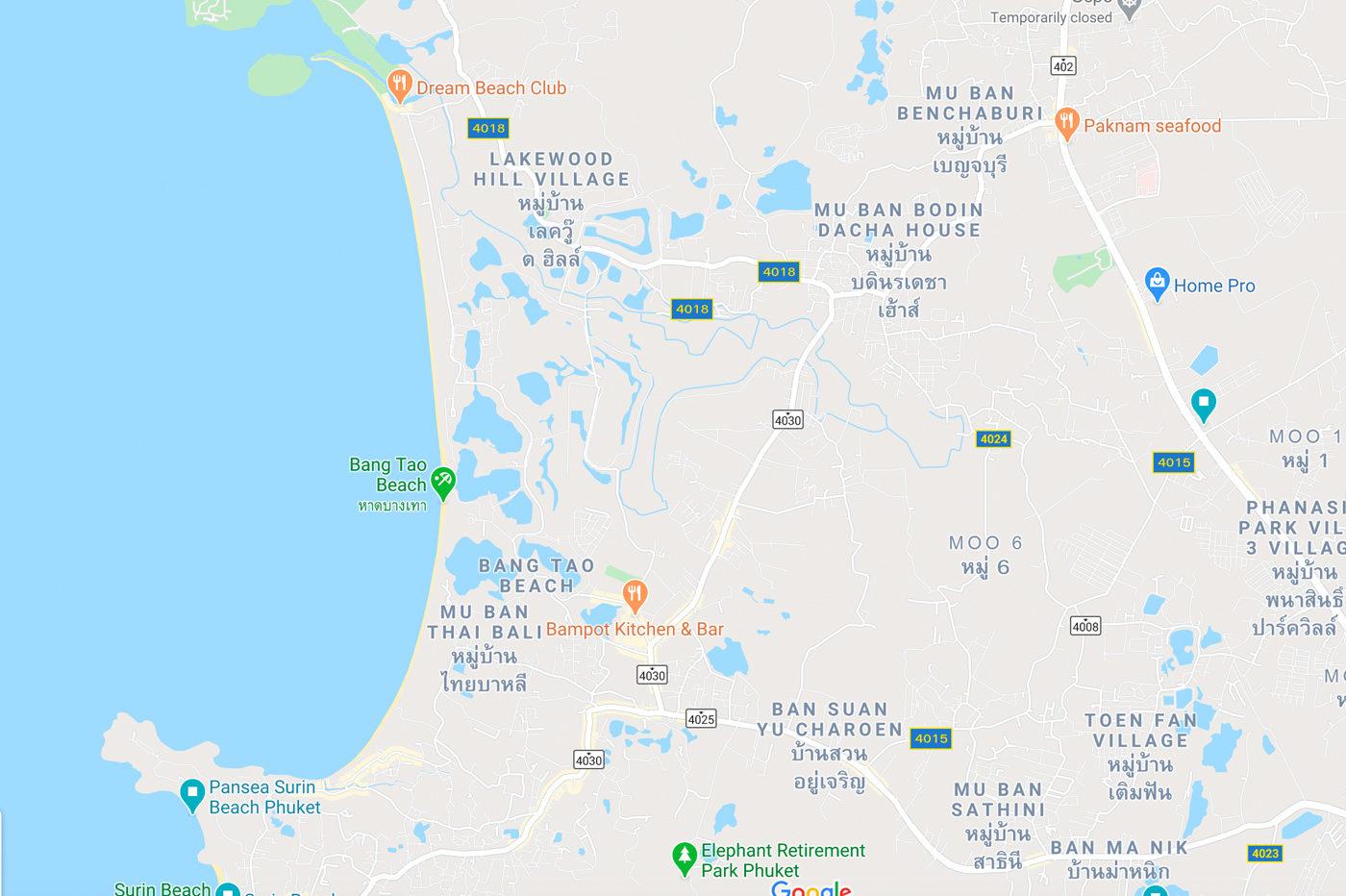 Bangtao Beach Map